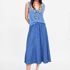 Zara blue sleeveless textured vest tank top square